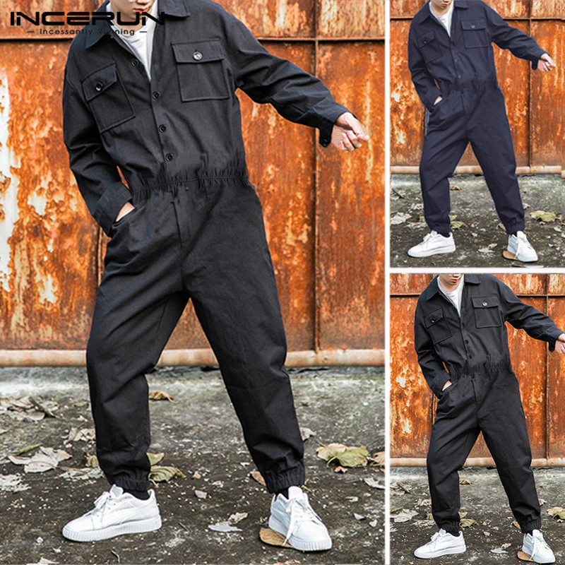 INCERUN Fashion Men Cargo Overalls Jumpsuit Punk Style Hip-hop Pockets 2020 Baggy Solid Long Sleeve Pants Men Rompers Streetwear