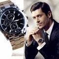 CLAUDIA Novos Homens Da Moda Relógios Banda de Aço Inoxidável de Negócios Três Olhos Máquinas Relógio Do Esporte Relógio de Quartzo relogio masculino