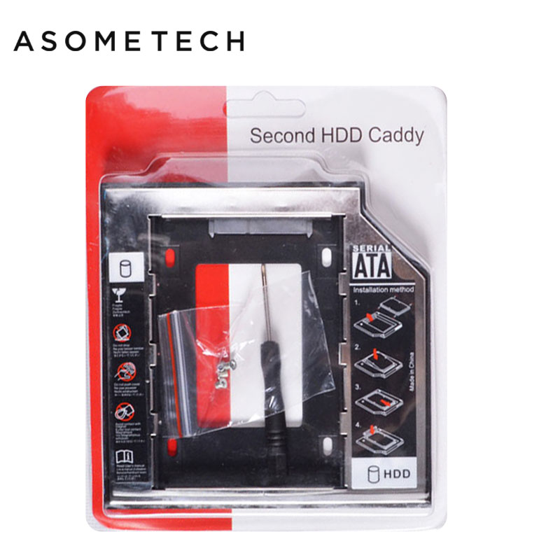 Soporte Universal para SATA 3,0 2nd HDD Caddy 9,5mm para 2,5 TB 2 SSD carcasa de disco duro con LED para Laptop DVD-ROM Optibay