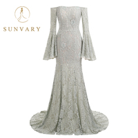 Sunvary Custom Lace Appliqued Celebrity Dress High End Long Sleeve Long Sheath Formal Gown Zipper Back