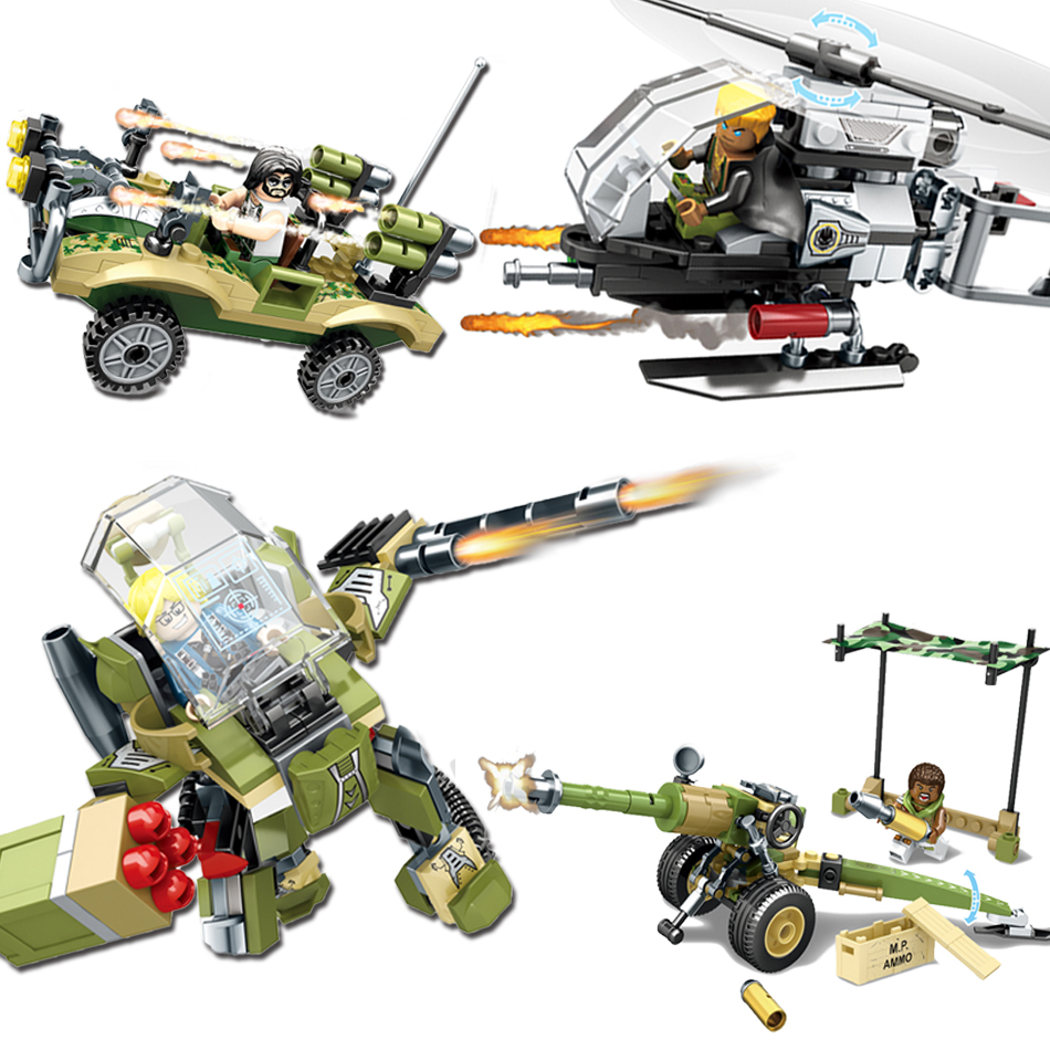 SEMBO BIOCK Military Figures Building Blocks Helicopter Plane Army Weapons Enlighten Brinquedos DIY Toys For Children Friends enlighten 1406 8 in 1 combat zones military army cars aircraft carrier weapon building blocks toys for children