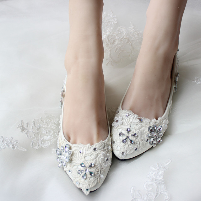 1f0c56c61c US $50.99 |White Rhinestone Crystal Sexy Lace Wedding Shoes Handmade  Wedding Shoes Bridesmaid Shoes Flat Sweet Flower Princess Shoes -in Women's  Flats ...