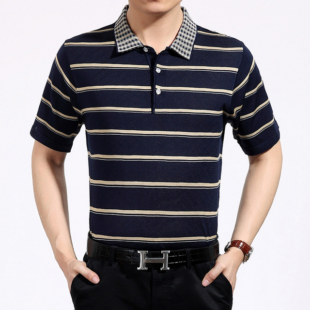 Hot sale new arrival 2017 mens Striped polo shirt Fashion floral collar short sleeve thin slim Camisa polos homme brand quality