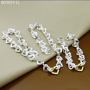 DOTEFFIL 925 Sterling Silver Full Heart Chain Necklace Bracelet Set For Woman Wedding Engagement Party Fashion Charm Jewelry 100% 925 silver sterling bracelet for woman with heart chain ice charms fashion bills free shipping