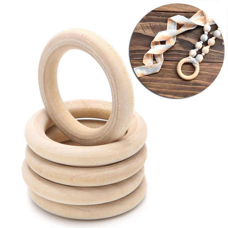 DIY Wooden Beads Connectors Circles Rings Beads Lead-Free Natural Wood