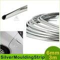 6mm 3 Metros Del Coche Moldura Cromada Plata Ddecoration Adhesive Bumper Grille Impacto Protección de Ajuste