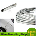 6mm 3Meters Car Chrome Silver Moulding Strip Ddecoration Adhesive Bumper Grille Impact Protecting Trim