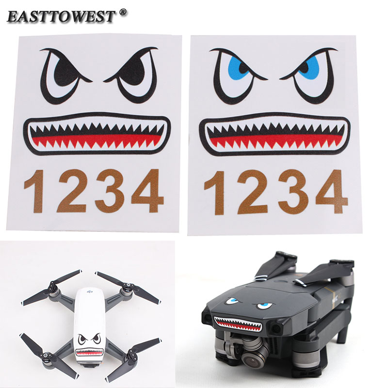 Easttowest 3M Shark Facial Expression DJI Mavic Pro Stickers Spark sticker