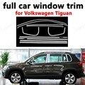 Для Volkswagen Tiguan внешние аксессуары для автомобиля Стайлинг полное окно отделка из нержавеющей стали декоративные полосы с колонкой