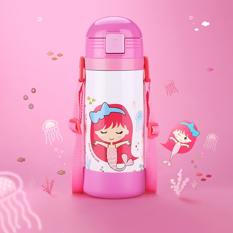 Thermose bottle for kids 304 stainless steel vacuum flasks thermal cup with straw rope portable (5)