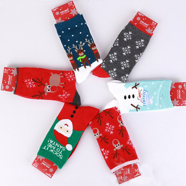 Christmas Style Socks Womens Snowflake Deer Printed Autumn Winter Socks Casual Red Socks ...