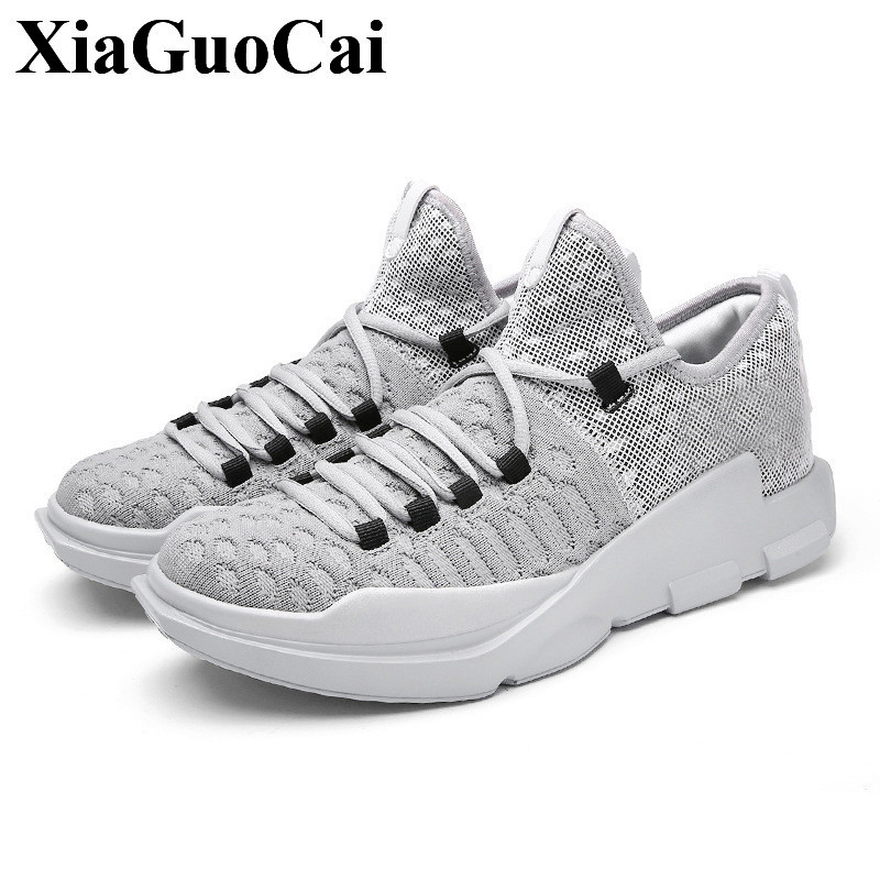 New Fashion Men Shoes Breathable Mesh Fly Weave Lace-up Casual Shoes Non-slip Wear-resistant Light Flats Shoes H418 35 fgn men s new 2017 casual summer breathable male wear resistant mesh shoes comfort trend of male flats shoes