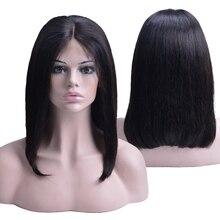 Короткий парик Боб Парик фронта шнурка человеческих волос предварительно сорвал прямой парик