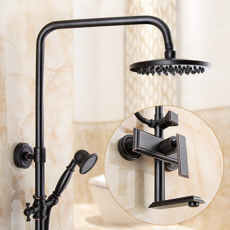 Bathroom Shower Set Black Oil Rubbed Brass Bathroom Bath Shower Faucets Wall Mount Shower Mixer With Ceramic Hand Shower