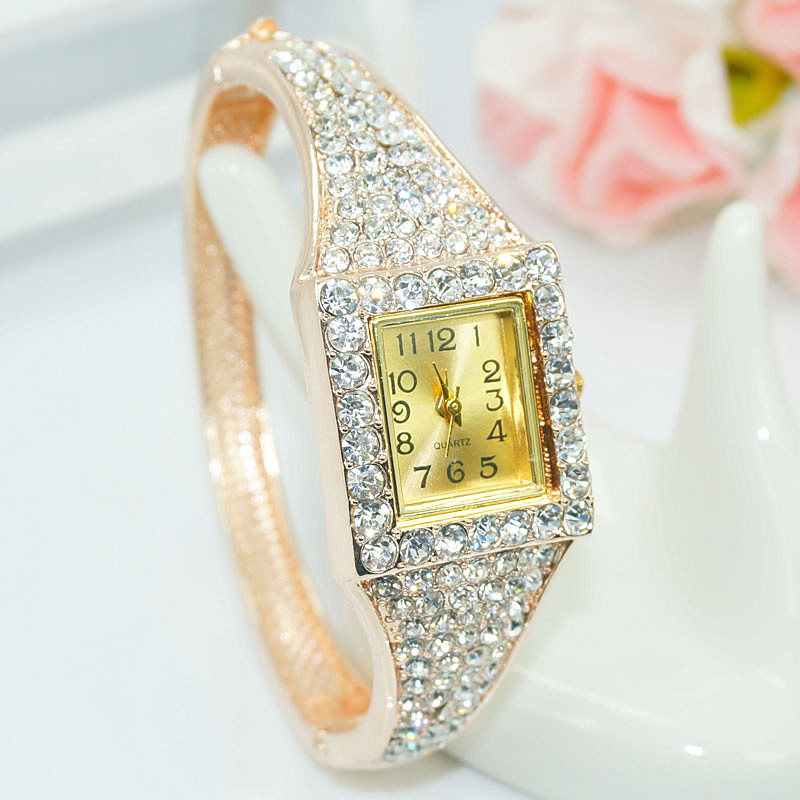 Hot Sale Famous Brand Bling Watch Women Luxury Crystal Watch Square Rose Gold Shinning Full Diomand Rhinestone Bangle Bracelet luxury women rhinestone bangle crystal flower bracelet quartz wrist watch men fashion sale hot style selling