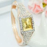 Hot Sale Famous Brand Bling Watch Women Luxury Crystal Watch Square Rose Gold Shinning Full Diomand Rhinestone Bangle Bracelet