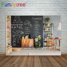Funnytree cenários de fotografia Quadro Negro com giz pintura fundo cozinha móveis de madeira pano de fundo decoração de interiores