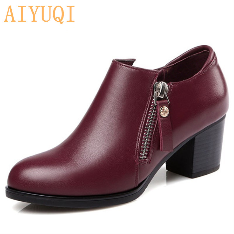 Genuine Leather Woman Shoes 2019 Autumn New Deep Mouth Singles Shoes Cowhide Thick With Large Size 35-43 Of Dress Shoes