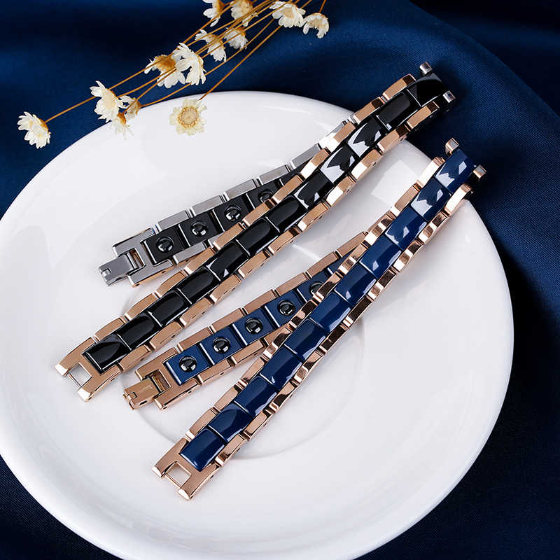 2018 горячий унисекс розовое золото с черный синий керамический браслет для женщин мужчин Здоровый Магнитный Германий браслеты и браслеты ювелирные изделия