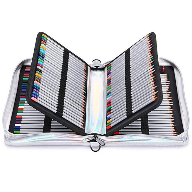 Image 4 - Creative Laser light Pu Leather Pencil Case 160 Holes Big Large Maker Pen Bag Box Office School Stationery PouchPencil Bags   -