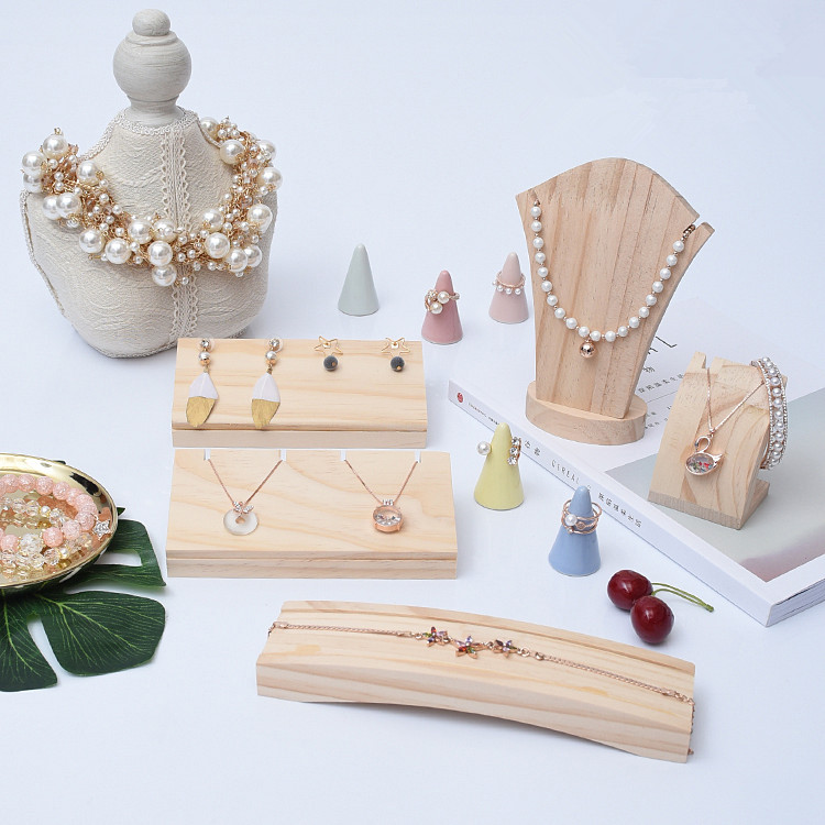 Solid Wood Necklace Chian Display Holder Bracelets Display Holder Wood Chain Tray Ring Display Holder