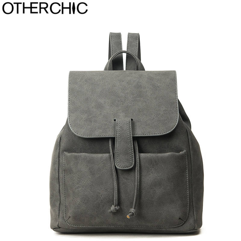 OTHERCHIC Fashion Women Backpack Preppy Style School Bags For Girls Drawstring Backpack Haversack Sac A Dos