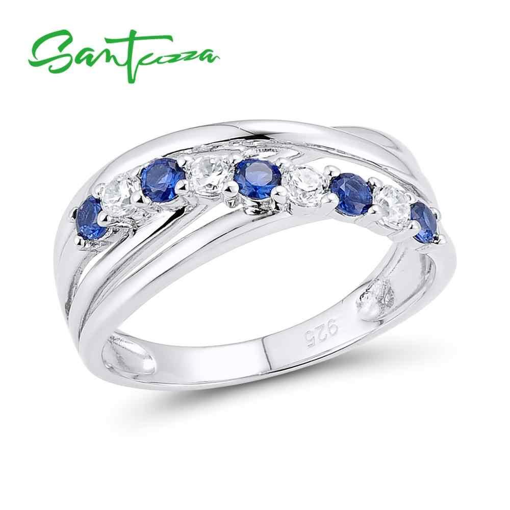SANTUZZA แหวนเงิน 925 เงินสเตอร์ลิงแฟชั่นรอบแหวนสีฟ้าสีชมพูสีเขียวแหวนเครื่องประดับ