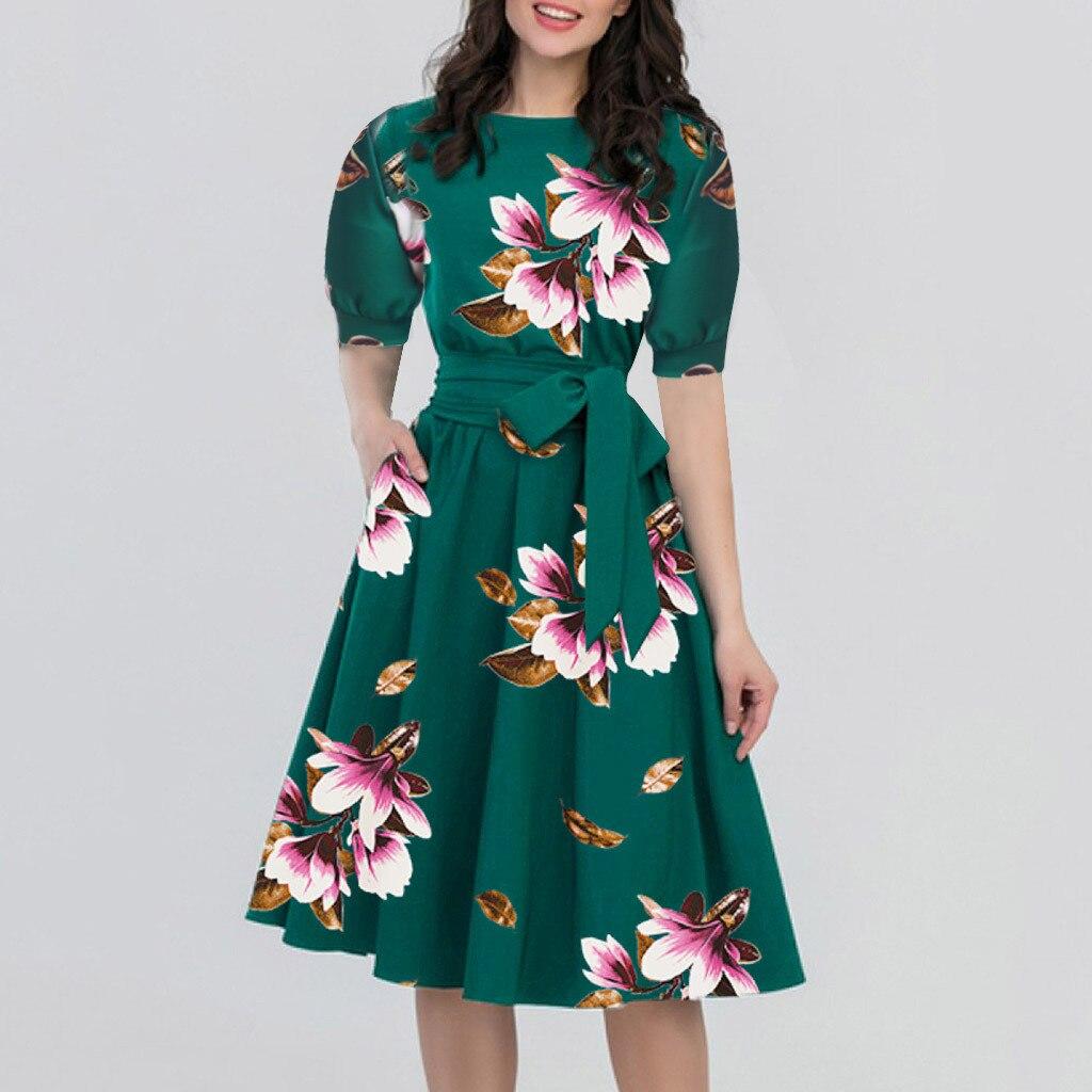 Vintage Dress Women Summer Floral Print Short Sleeve Pocket Sashes Party A-Line Dress Elegant Dress Vestidos Plus Size Robe