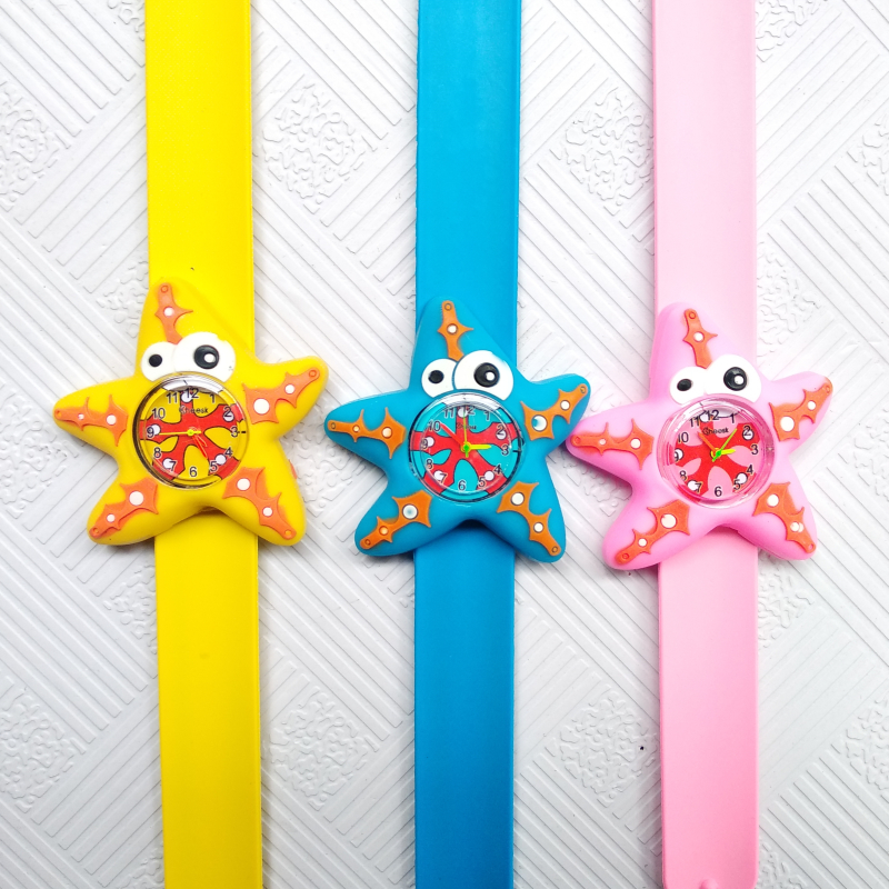 Slap Ring Kids Watches 3D Flower Five-pointed Starfish Baby Toy Children Watch Girls Boys Clock Pineapple Quartz Wristwatches