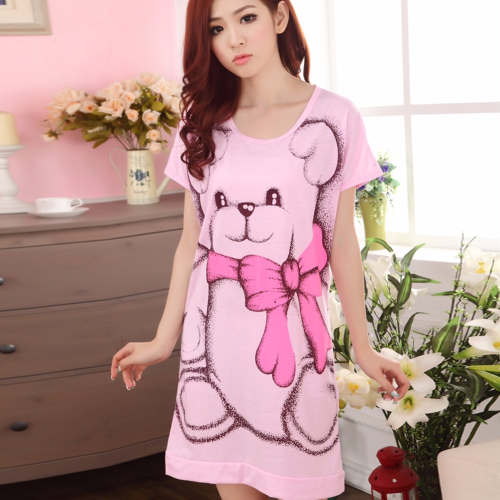 Summer Women's   Nightgowns   Short-sleeve Dress Cute Cartoon Bear Printed   Sleepshirts