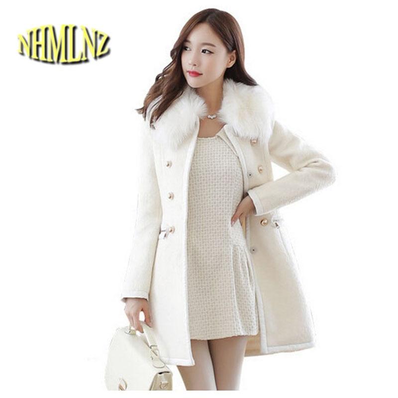 New Korean Style Fashion Women Winter Coat Detachable Collars Medium long Pure color Cloth Coat Elegant Women Warm Coat G1663