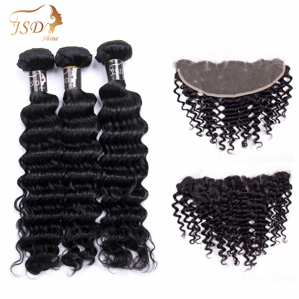 JSDShine HAIR Beauty Brazilian Deep Wave Non Remy Human Hair Extensions 3 Bundles With 13*4 Lace Frontal Color #1B Free Shipping