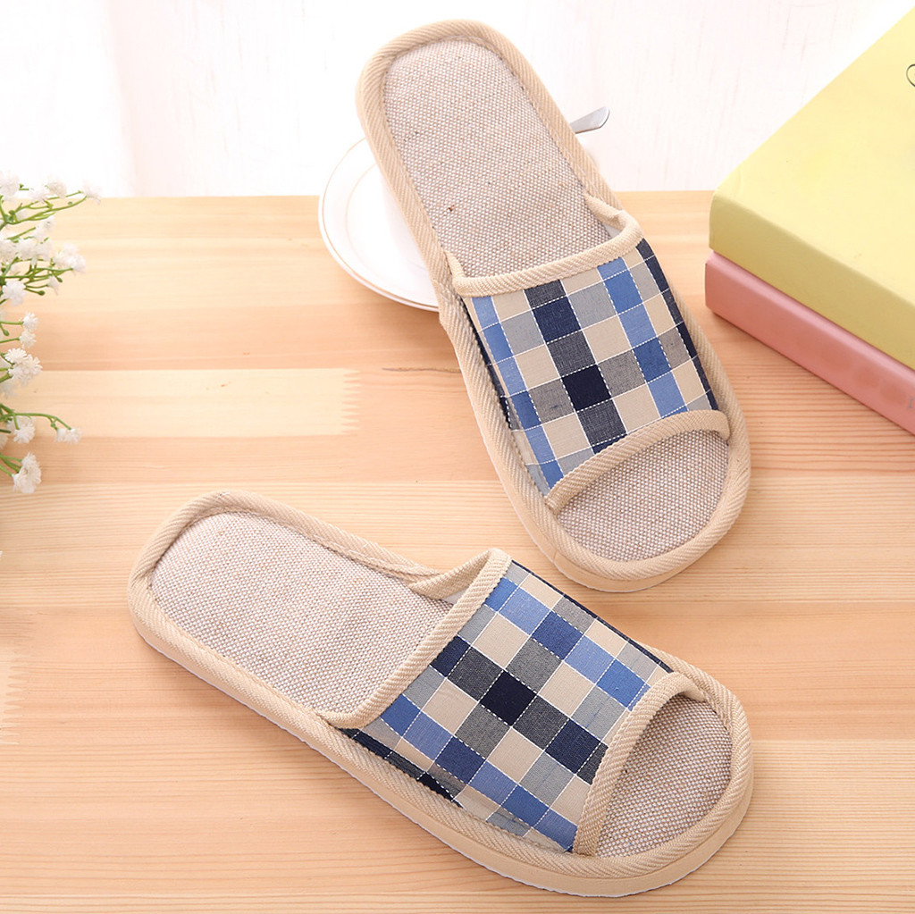 Natural Flax Lover Home Slippers Women Men Fashion Casual Couples Gingham Home Slippers Indoor Floor Flat Shoes  #30