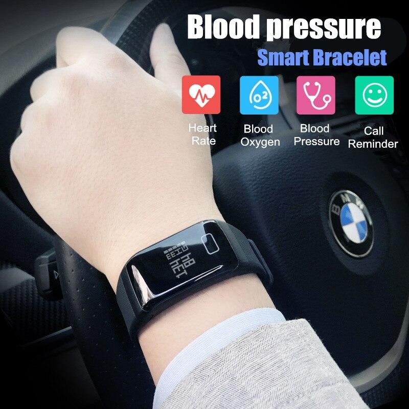 Sport Blutdruck Smart Armband Wasserdicht Pulsmesser Fitness Tracker Uhr Passometer Stoppuhr call reminder