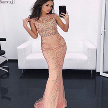 Real Photos Tulle Crystal  Champagne Color Party Occasion Formal Long Mermaid Evening Dress heavy Beaded In stock