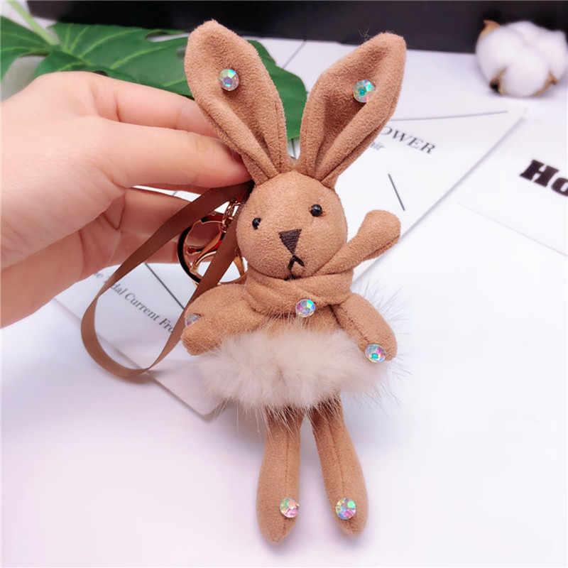 2019 креативная норковая плюшевая юбка кролик брелок хрустальные стразы милый кролик брелок для ключей Дамская Автомобильная сумка брелок ювелирный подарок