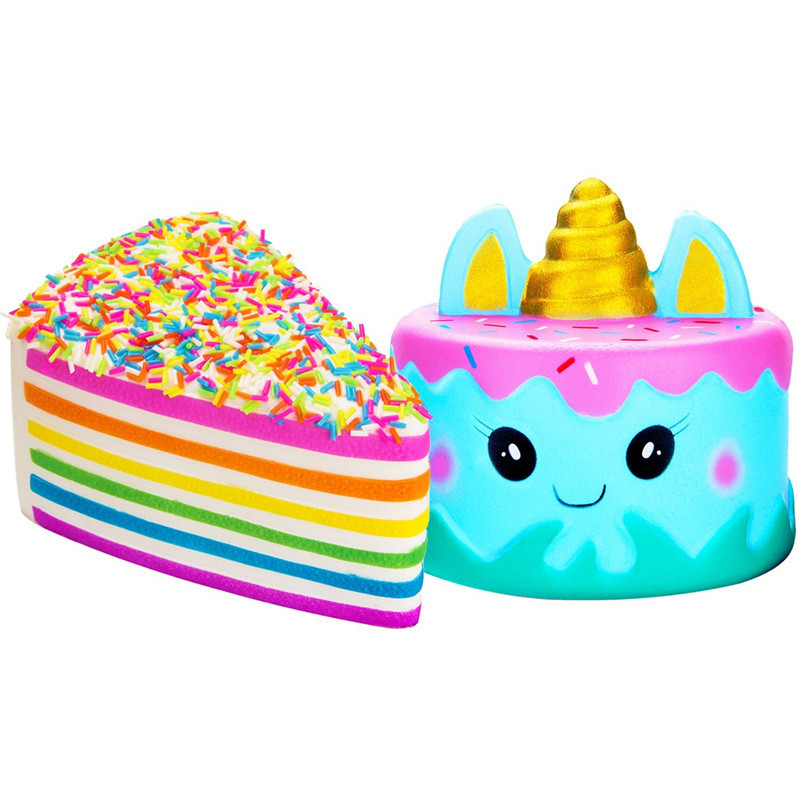 Hot Sale Jumbo Cute Narwhal Cake Rainbow Cake Set Kawaii Cream