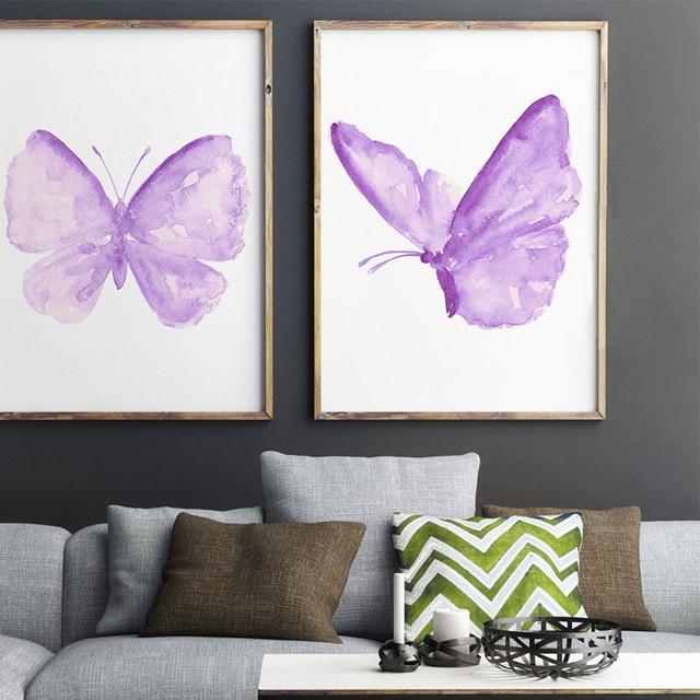 Purple Erfly Nursery Wall Decor Erflies Kids Room Painting Watercolor Insect Ilration Baby Boy Art