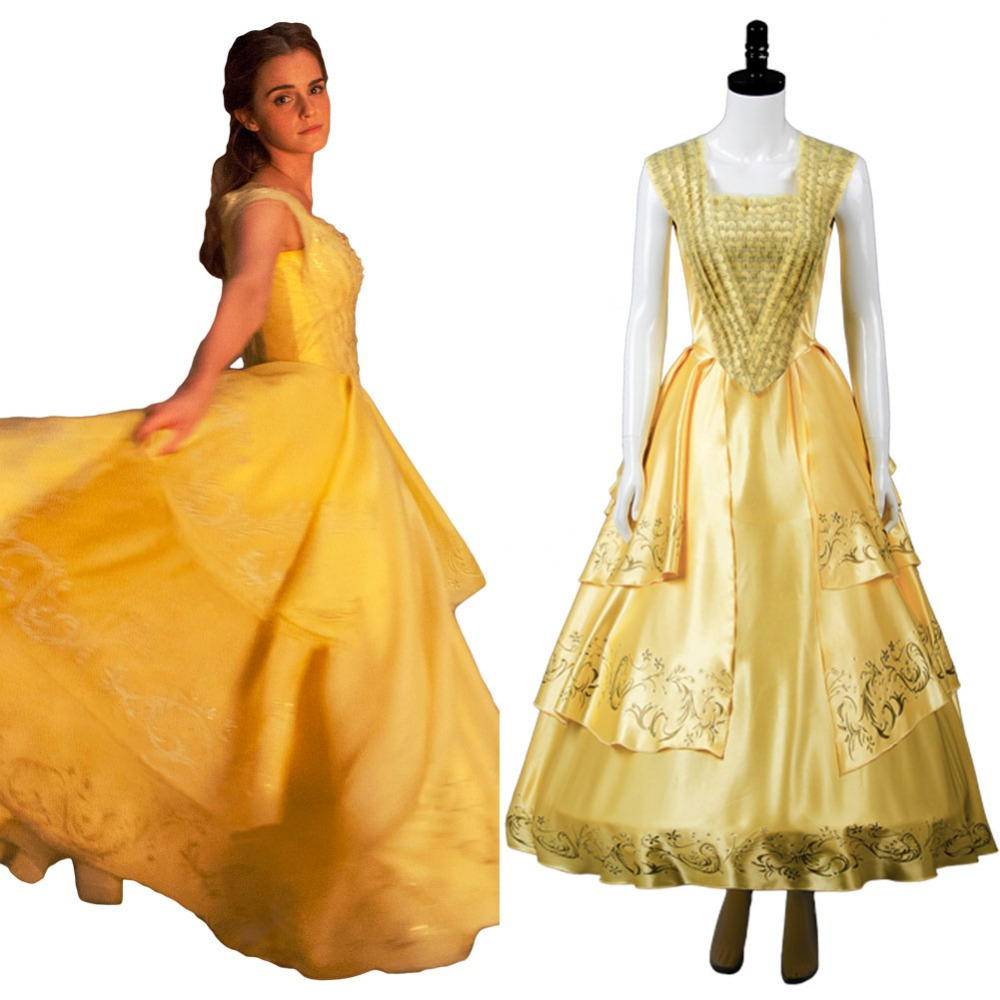 Beauty and the Beast Cosplay Movie Belle Emma Dress Costume Full Set Uniform Halloween Costume Girls' cosplay  dress Carnival