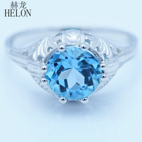 HELON 8mm Round Genuine Blue Topaz Ring Vintage Style Cocktail Engraving Sterling Silver 925 Art Nouveau