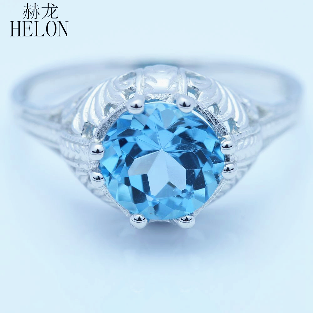 HELON 8mm Round Genuine Blue Topaz Ring Vintage Style Cocktail Engraving Sterling Silver 925 Art Nouveau Engagement Wedding Ring серьги art silver art silver ar004dwzmh30