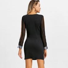 Winter Dress  Sequined Chiffon Party Elegant V Neck Knee-Length