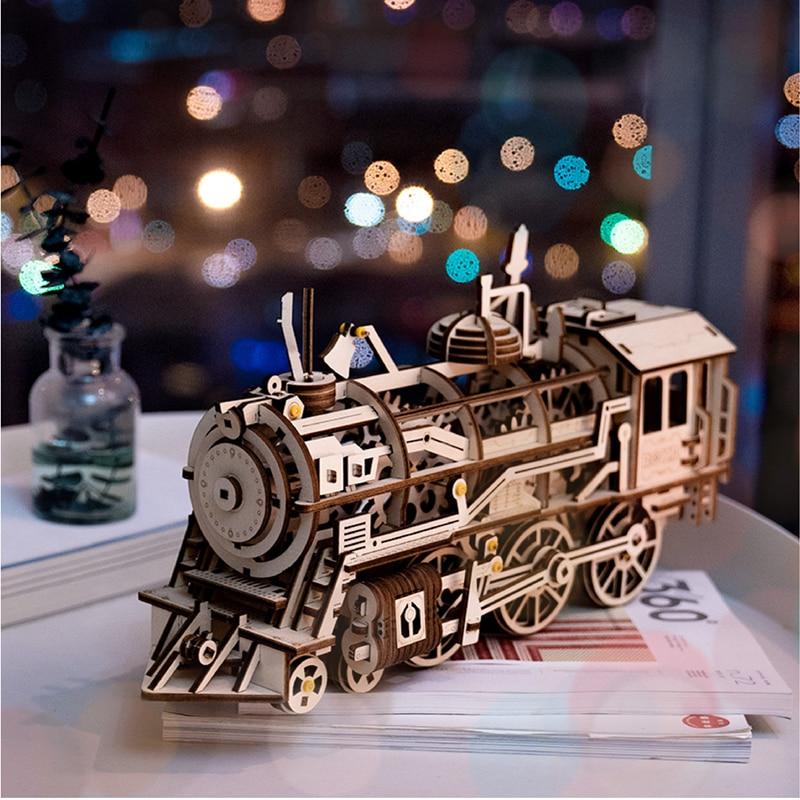 3d wooden puzzles for adults Teens DIY Clockwork Gear Drive Locomotive Model Building Kits Toys Hobbies Gift Children