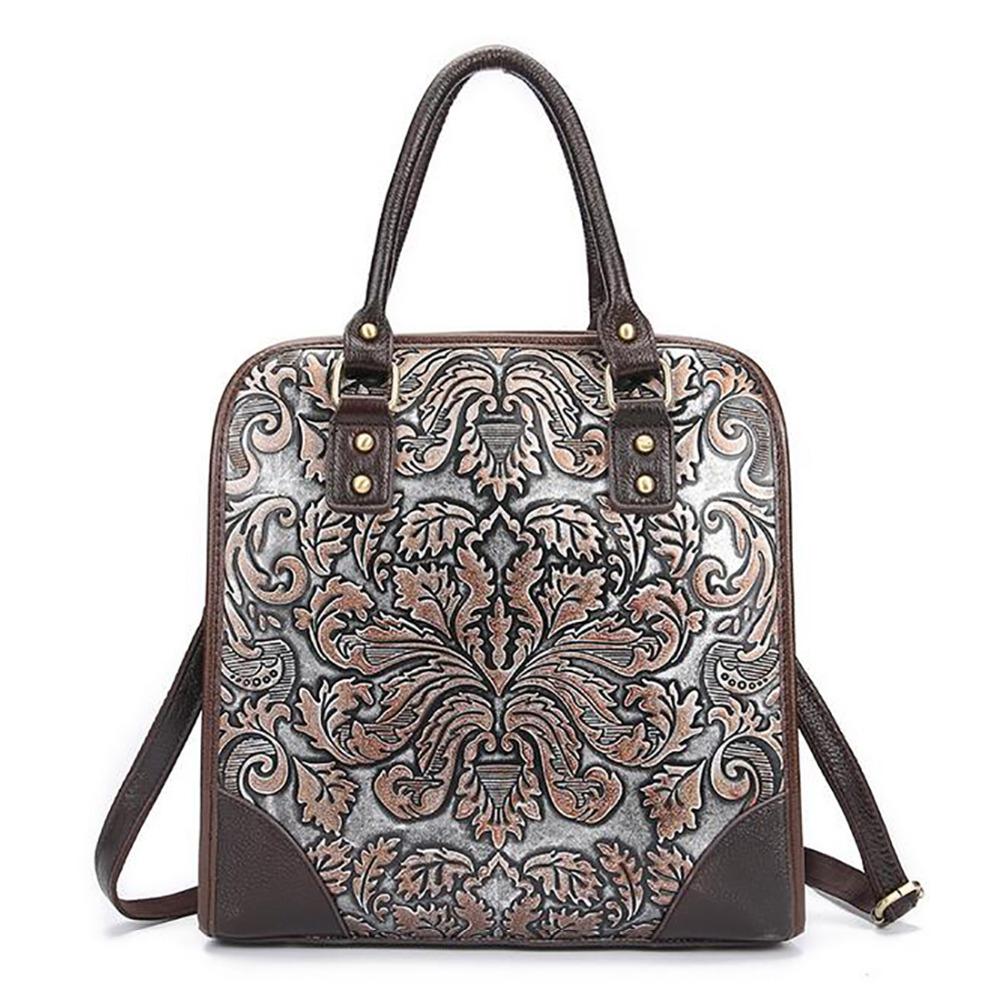 Vintage Trend Women Genuine Leather Tote Bag Casual Crossbody Messenger Shoulder Bags Famous Brand Embossed Cowhide