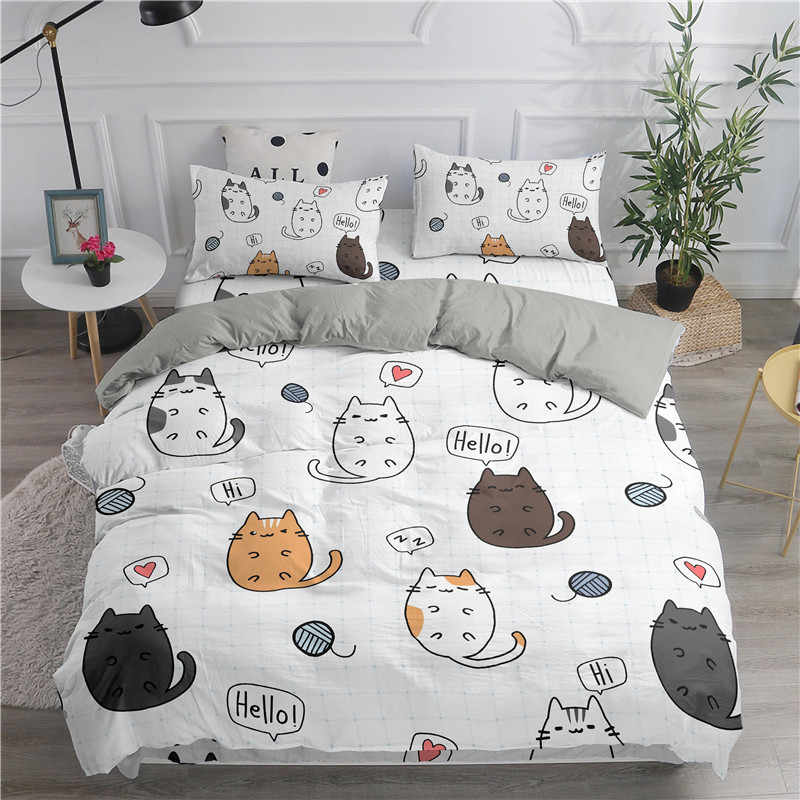 ZEIMON Cartoon Bedding Set Cute Cats Printed 3D Duvet Cover Set Twin Full Queen King Double Sizes Comforter Bedclothes
