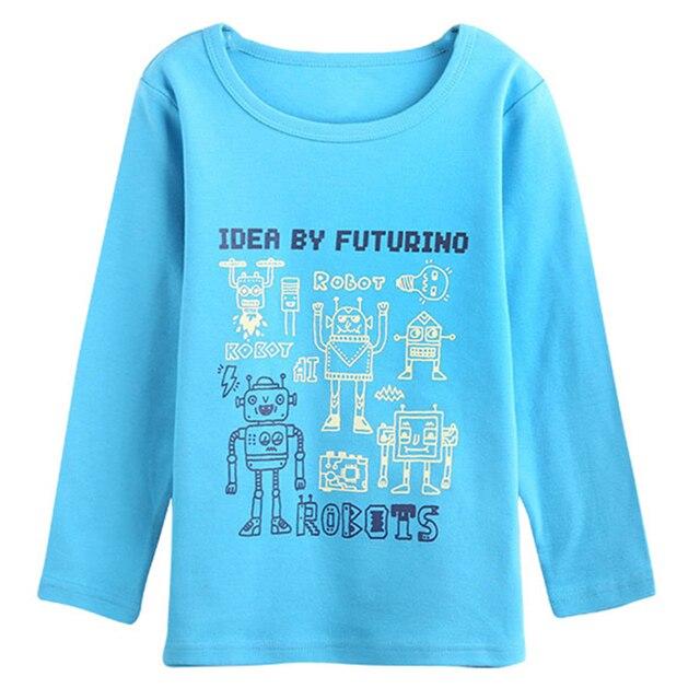 Special luminous printing Designer Boys Clothing Long Sleeve Cartoon Robot T shirt Cotton Tops Kids Tees brand vestidos infantil
