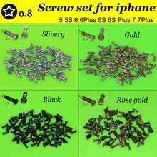 YuXi New 5 point star bottom screw replacement for iphone 7 7Plus 5 5S 6 6Plus 6SP Silver/Black/Gold/Rose gold(China)