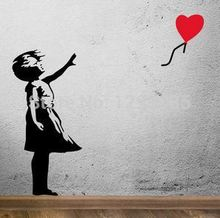Banksy Balloon Girl Wall Vinyl Stickers Art Decal Reusable & Removable Decal 2017 fashion custom made Poster