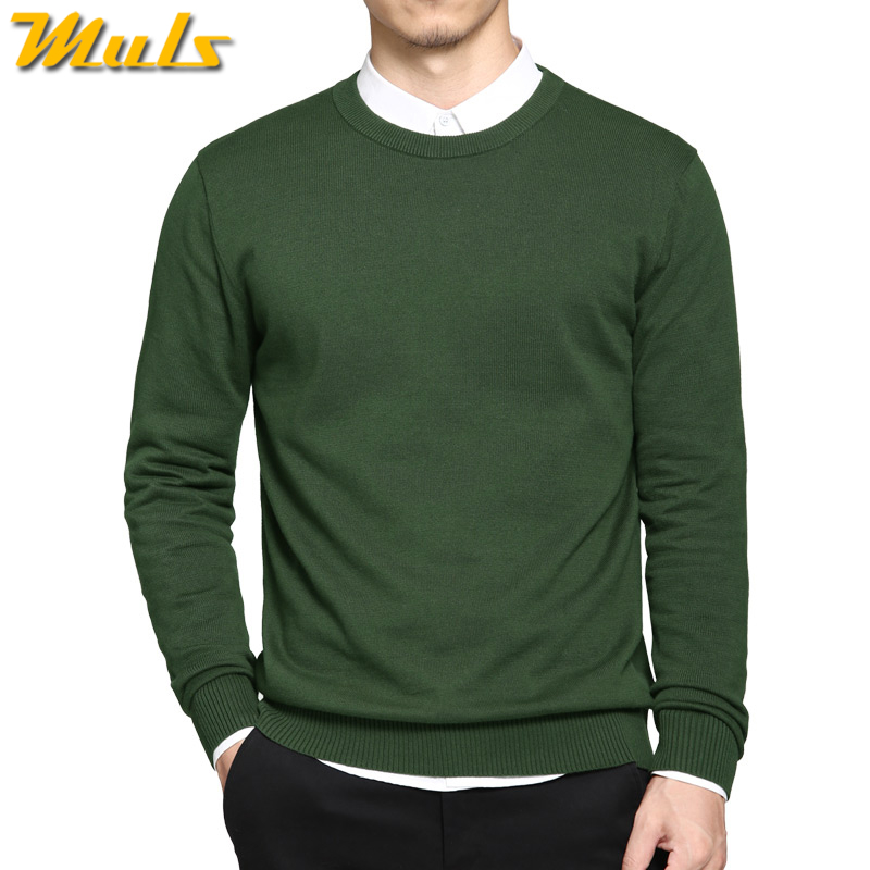 5XL мужские свитера, пуловеры осень 2017 г. Новые однотонные хлопковые с круглым вырезом свитер Джемперы зима мужской трикотаж человек синий серый черный зеленый