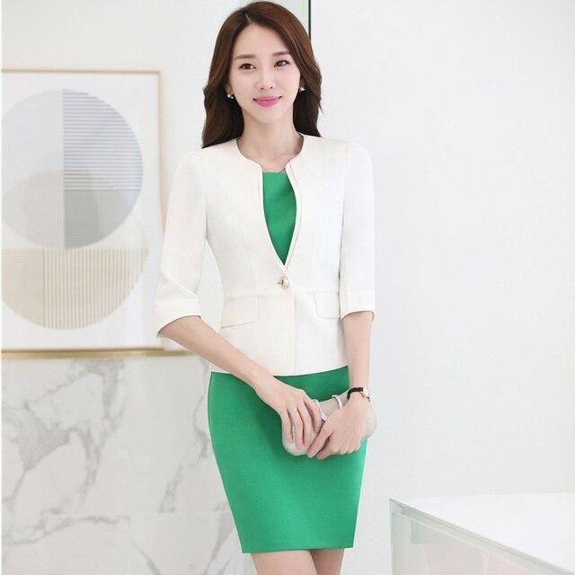 Elegante Weisse Dunne Fashion Professional Business Frauen Blazer